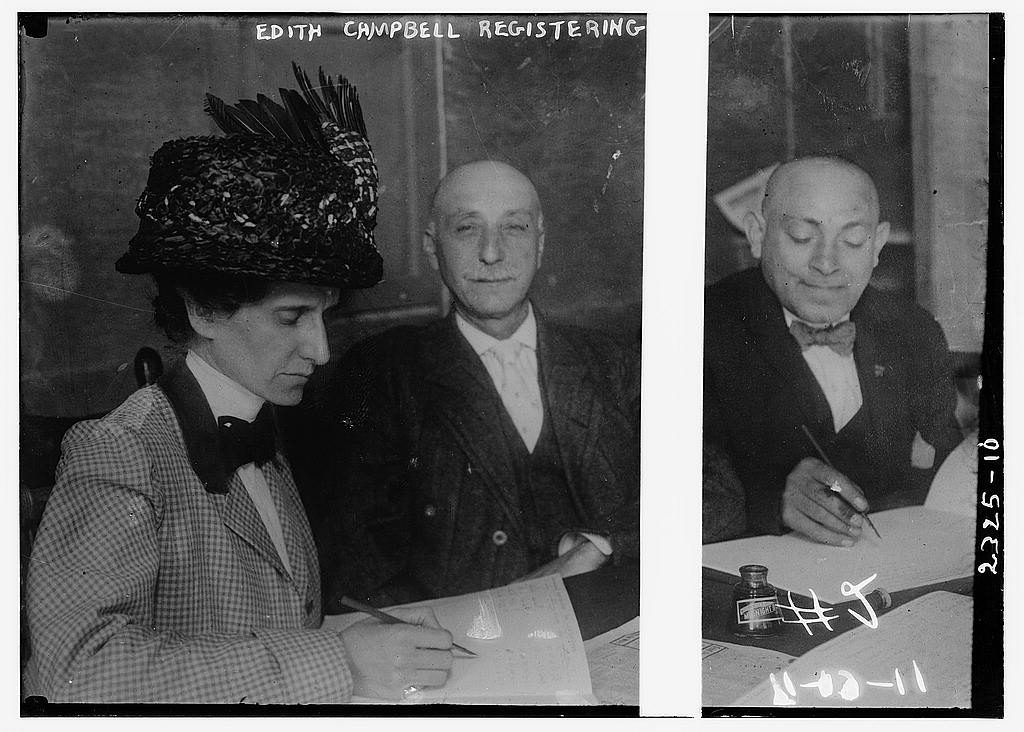Edith Campbell registering to vote