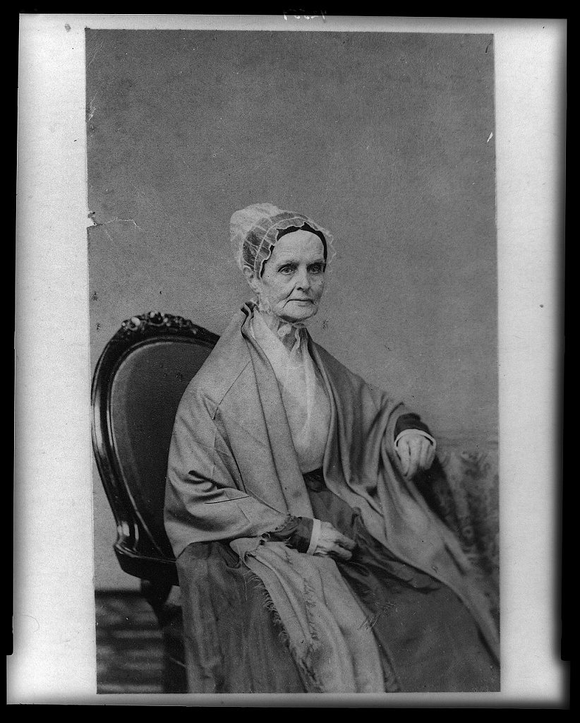Lucretia-Coffin-Mott - three-quarter length portrait seated facing right - Library of Congress
